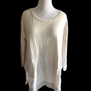 Free People Lagenlook Sweater Top Raw Hem tunic